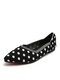 Plus Size Women Comfy Knitted Polka Dots Pointed Toe Slip On Flats - Black
