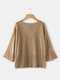 Solid Color Trumpet Sleeve Drawstring Sweater For Women - Coffee