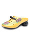 Socofy Retro Ethnic Floral Embroidered Hollow Out  Closed Toe Soft Sling Back Low Heel Mule Sandals - Yellow
