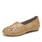 LOSTISY Women Hand Stricing Hollow Comfy Retro Casual Slip On Flats - Brown