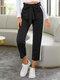 Side Striped Print Waistband Pocket Long Casual Sport Pants for Women - Black
