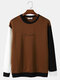 Mens Script Embroidered Contrast Patchwork Pullover Street Sweatshirts - Coffee
