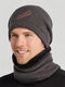 Men 2PCS Embroidered Thick Winter Outdoor Neck Protection Headgear Scarf Knitted Hat Beanie - Gray