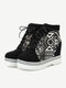 Women Casual Large Size Lace-up Color Block High Top Skate Shoes - Black