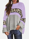Women Contrast Color Print Patchwork Long Sleeve Casual Sweater - Purple