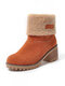 Suede Warm Lining Platform Ankle Boots - Orange