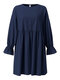 Solid Color O-neck Lantern Sleeve Plus Size Pleated Dress for Women - Navy