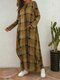 Plaid Casual Plus Size Dress with Pockets - Yellow
