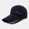 Men Sunscreen Outdoor Fishing Travel Casual Broad Brim Visor Sun Hat Baseball Hat - Navy