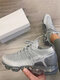 Women Brief Knitted Mesh Breathable Air Cushioned Walking Shoes - White Gray