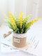 1 pieza de lavanda en maceta Flores artificiales de lino Bolsa Bonsai decoración de jardín de oficina en casa Artificial verde deja Planta decoración - púrpura