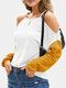 Women Patchwork Off Shoulder Long Sleeve Casual Blouse - White