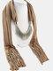 20 Colors Bohemian Women Scarf Necklace Shawl Autumn Winter Tassel Pendant Necklace - #14