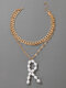 Trendy Letter R Necklace Temperament Three-layer Hollow Necklace - Gold