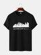 Mens Kansas Building Print Casual Short Sleeve 100% Cotton T-Shirts - Black