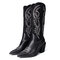Embroidered Pointed Toe Chunky Heel Slip-on Western Cowboy Boots for Women - Black