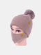 Women 2PCS Wool Winter Keep Warm Daily Casual Neck Face Protection Fur Ball Knitted Hat Beanie Mask - Khaki