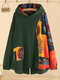 Vintage Printed Patchwork Irregular Plus Size Hooded Blouse - Green