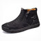 Men Double Side Zipper Hand Stitching Microfiber Leather Ankle Boots - Black