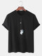 Mens 100% Cotton Astronaut Printed Round Neck Casual Short Sleeve T-shirts - Black