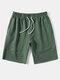 Mens Solid Color Seam Detail Sport Drawstring Mid Length Shorts - Green