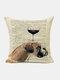 Animal Head Wine Glass Pattern Linen Cushion Cover Home Sofa Art Decor Throw Pillowcase - #24