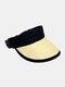 Unisex Straw Color Contrast Wide Brim Adjustable Breathable SunscreenEmpty Top Cap Baseball Hat - Black