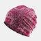 Women's Ethnic Cotton Beanie Vintage Elastic Hat Breathable Turban Cap - Wine Red