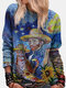 Cartoon Abstract Gedrucktes Langarm-Sweatshirt mit O-Ausschnitt - Blau