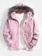 Mens Corduroy Sherpa Lined Thicken Hooded Overcoats With Faux Fur Collar - Pink