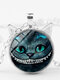 Vintage Geometric Glass Printed Women Necklace Smiling Cat Two Ears Pendant Necklace - Silver