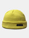 Unisex Acrylic Knitted Solid Color Letter Pattern Cloth Label Fashion Warmth Skull Cap Beanie Hat - Yellow