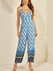 Vintage Ethnic Print Long Sleeveless Casual Jumpsuit for Women - Blue