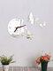 Acrylic Mirror Stickers Wall Clock Modern Design Fairy Butterfly 3D DIY Duvar Saati Clocks For Girl Gift Living Room Home Decor - Silver