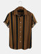 Mens Houndstooth & Vertical Stripe Patchwork Casual Short Sleeve Shirt - Yellow