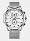 Small Three Pointer Men Business Watch Chronograph Calendar Waterproof Quartz Watch - Silver Case White Dial