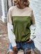 Contrast Color Patchwork Long Sleeves O-neck Pullover Sweater For Women - Green