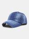 Unisex Denim Solid Color Ripped Edge Sun Protection Fashion Baseball Cap - #03