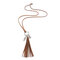 Vintage Flower Leaf Leather Necklace Metal Carved Long Tassel Beaded Necklace Sweater Chain - #01