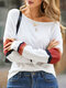 Striped Patchwork Long Sleeve Casual T-Shirt For Women - Red