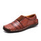 Menico Men Hand Stitching Leather Non Slip Splicing Casual Driving Shoes - Red