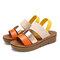 LOSTISY Women Casual Triple Strap Slingback Platform Sandals - Orange