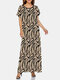 Zebra Letters Chain Print Plus Size O-neck Bohemia Dress - Khaki