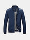 Mens Casual Slim Warm Wind-proof Solid Color PU Leather Jacket