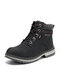 Women Outdoor Warm Lining Lace Up Winter Snow Short Boots - Black