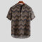 Men's Ethnic Printed Chevron Stand Collar Short Sleeve Loose Henley Shirts