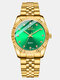 Adjustable Couple Business Watch Inlaid Diamonds Dial Luminous Waterproof Quartz Watch - Green