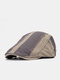Men Made-old Cotton Color-match Patchwork Casual Sunscreen Beret Flat Caps - Gray