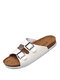 Men Brief Buttons Decoration Cork Sole Opened Toe Slippers - White