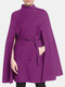 Solid Color Pocket Button Waistband Cloak Casual Coat for Women - Purple